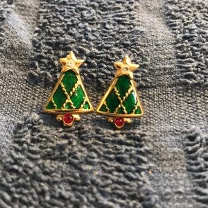 Avon Christmas Tree Earrings CZ Ruby Enamel